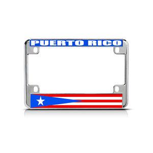 Puerto Rico Flag Metal Motorcycle Bike License Plate Frame