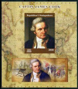 Madagascar 2018 MNH Captain James Cook 1v IMPF M/S Exploration Boat Ships Stamps