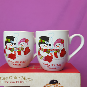 Fitz-and-Floyd-Snowmen-Christmas-Mugs-Tea-Coffee-Cake-Recipe-Flurry-Folk-12-oz