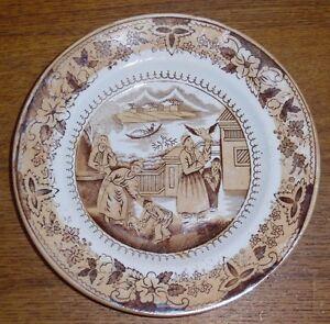 Old-Brown-Transfer-Plate-w-Oriental-Scene-7-3-8-034