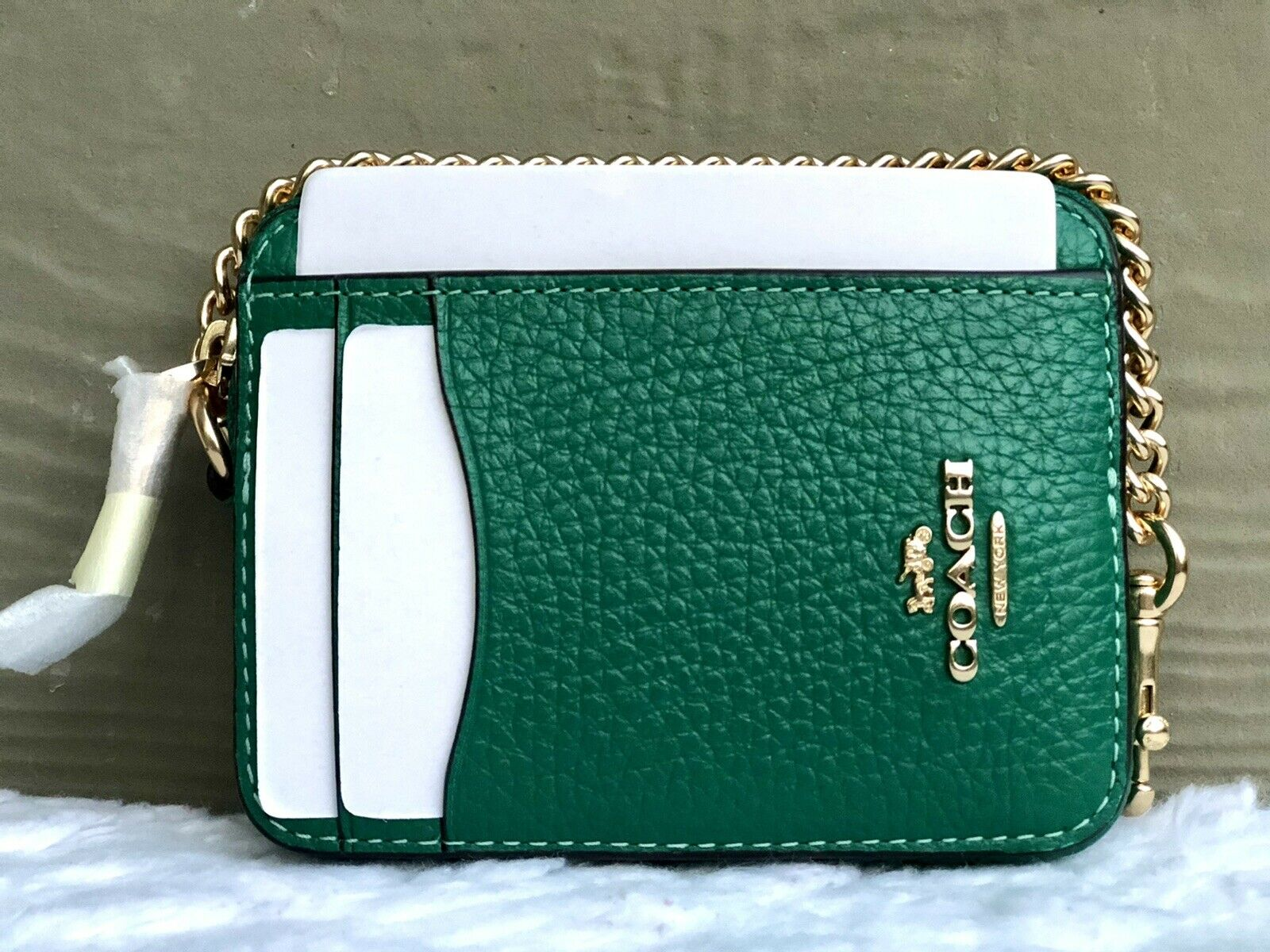 NEW-AU Coach 6303 Zip ID Card Case Coin Mini Leather Wallet with Chain Jade