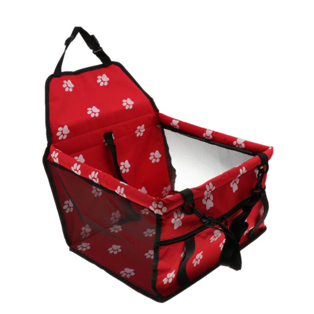 Lovoski Car Seat For Dog Cat Booster Seat Travel Box Lining Chair Bag Red