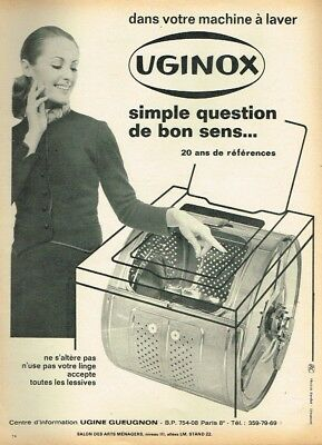 Publicité Advertising 1969 Uginox Acier Inoxydable Machine à Laver Breweriana, Beer M Collectibles
