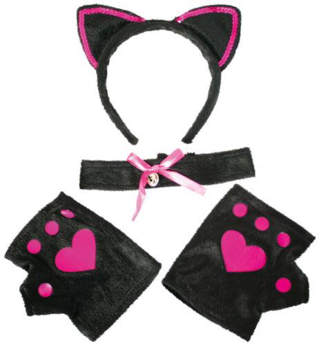Katzen-Set Sweet Cat 4-tlg Haarreif mit Ohren Halsband Handschuhe Tierkostüm