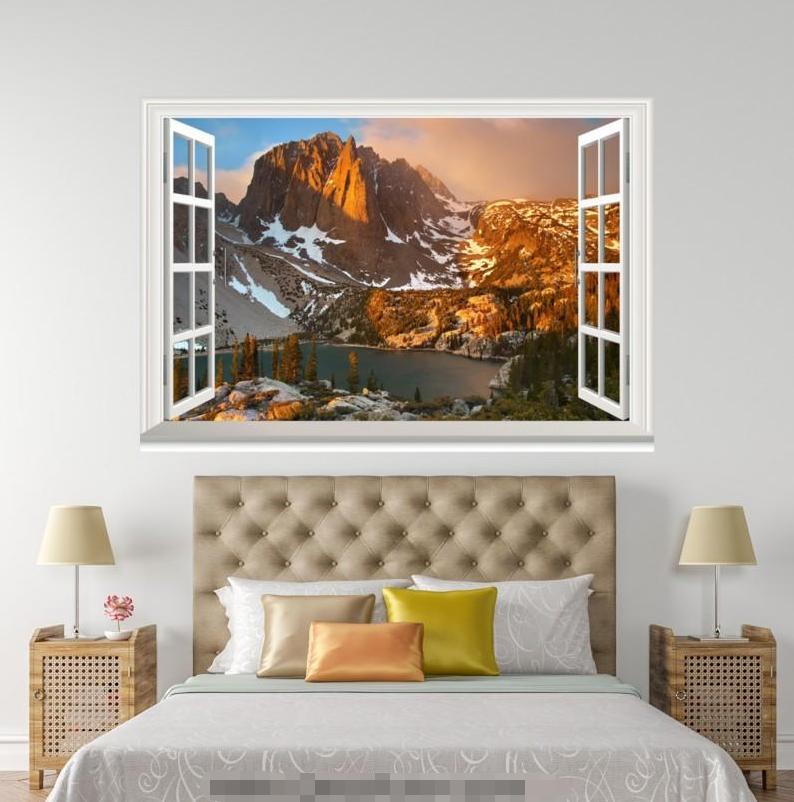 3D Sunset Mount Snow 018 Open Windows WallPaper Murals Wall Print AJ Jenny