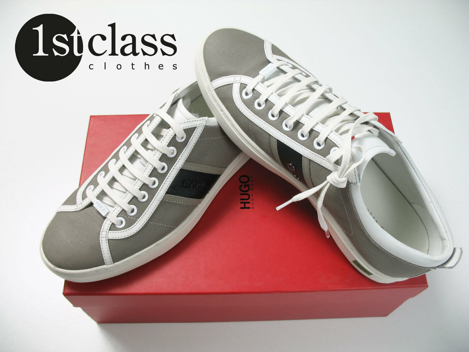HUGO Low Sneaker FANVAS Size 44 Boss grau aus Textilleder Hugo Boss 44 Turnschuh aacaaa
