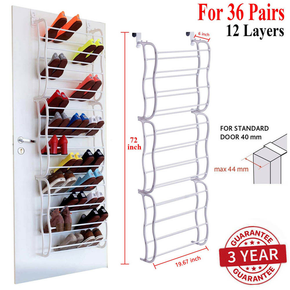 Over The Door Shoe Rack 36 Pair Wall Hanging Closet Organize