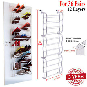 Over-The-Door-Shoe-Rack-36-Pair-Wall-Hanging-Closet-Organizer-Storage-Stand-GOOD