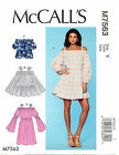 MCCALL'S SEWING PATTERN 7563 MISSES 16-26 OFF SHOULDER TOPS, DRESS IN PLUS SIZES