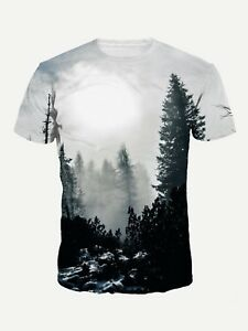 Forest-Fog-Graphic-T-Shirt-Small