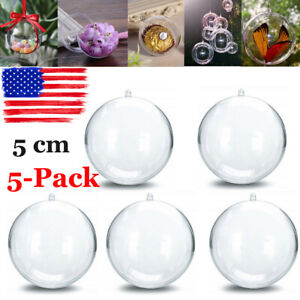 5x-Clear-Plastic-Ball-Baubles-Sphere-Fillable-Christmas-Ornament-Craft-Gift-Box