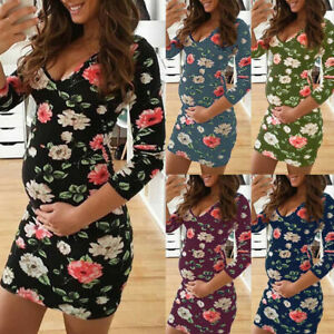 Floral-Women-039-s-Maternity-Print-Round-Neck-Long-Sleeve-Leisure-Maternity-Dress