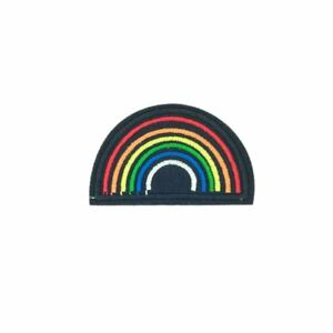 Half-Black-Rainbow-Iron-On-Embroidery-Applique-Patch-Sew-Iron-Badge