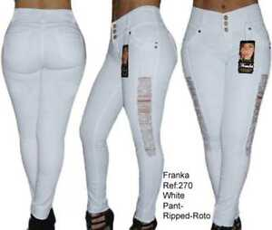 Push Levanta bianco Rip magro alta 270 vita Up Franka Jeans Cola Originale I0wRxqdpI