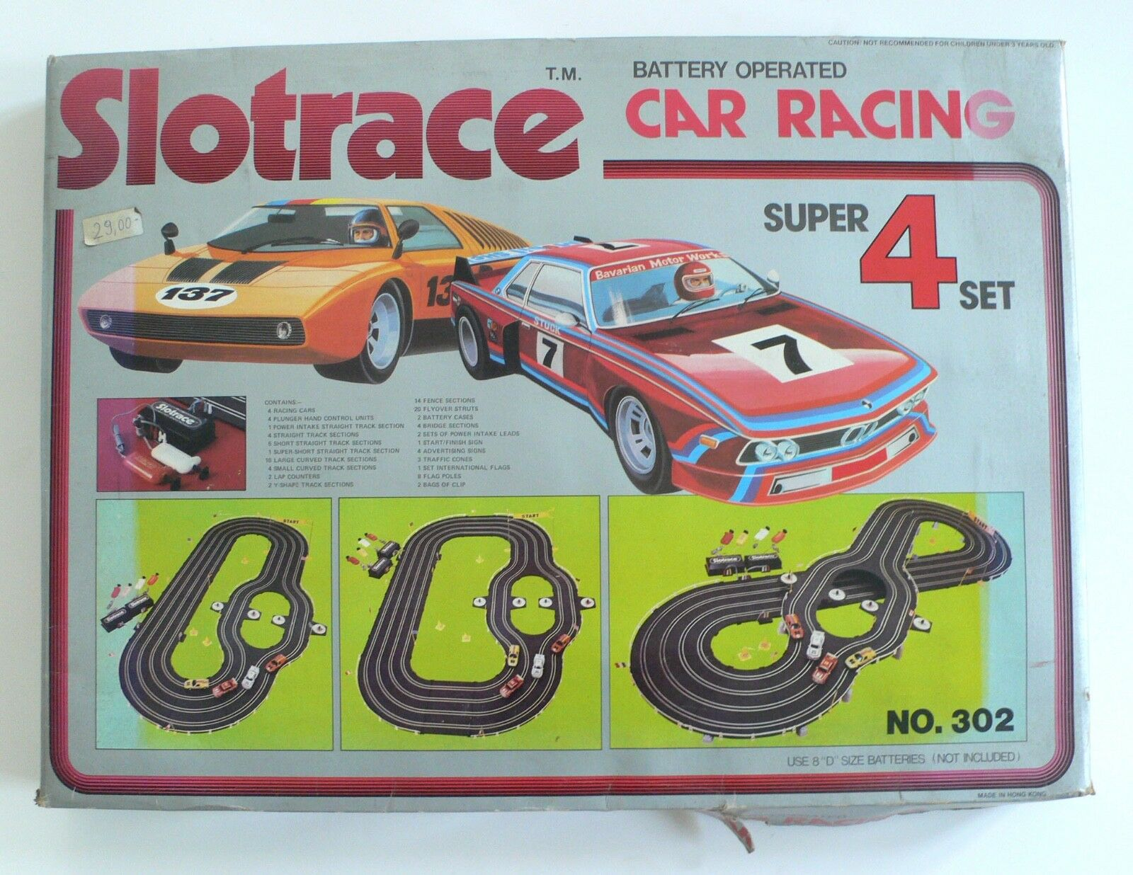 Vintage Slot Race Car Set SLOTRACE Super 4 Lane Set Mercedes BMW 1980's MISB