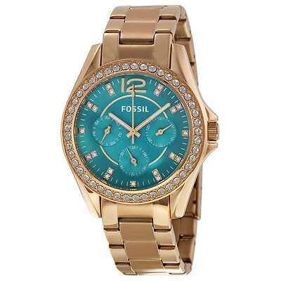 Fossil Riley Multi-Function Turquoise Dial Rose Gold-tone Ladies Watch ES3385