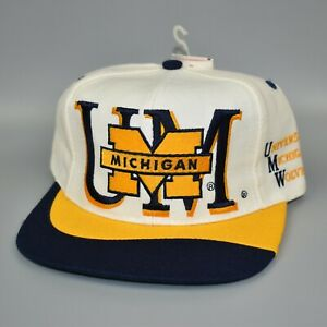 Michigan-Wolverines-NCAA-Twins-Enterprise-Vintage-90-039-s-Snapback-Cap-Hat-NWT