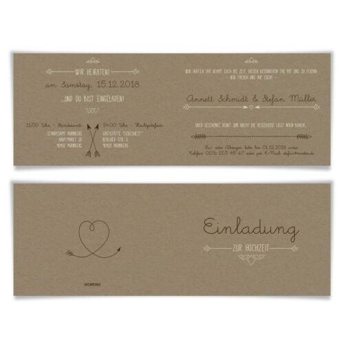 Pfeil mit Herz Kraftpapier Look Hochzeit Einladungskarten Hochzeitskarten