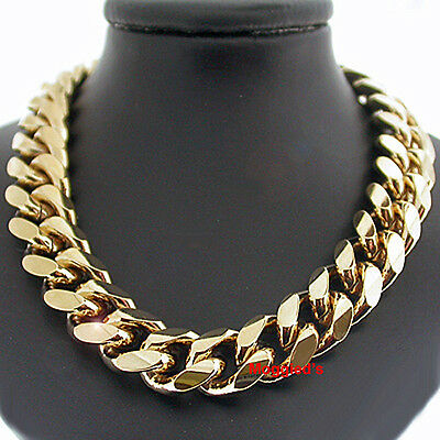 """LIFETIME GUARANTEE 11mm ROUNDED CURB THICK Link 14k GOLD GL 18/"""" MENS Necklace"""