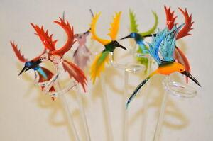 Handarbeit Orchideenstab Blumenstab Kolibri aus Glas