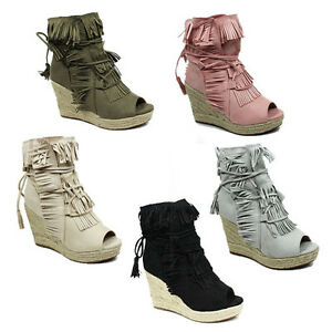 WOMENS-LADIES-WEDGE-HEEL-PEEP-TOE-TASSEL-ANKLE-SANDALS-ESPADRILLES-SHOES-SIZE-3