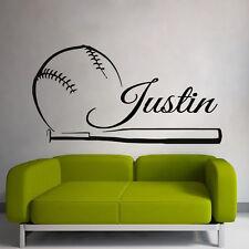 Wall Decals Baseball Vinyl Sticker Sport Player Boy Name Decal Dorm Decor kk776