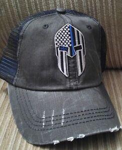 559fd4d8 Spartan Helmet Blue Line Baseball Ball Cap USA Flag Cotton Trucker ...