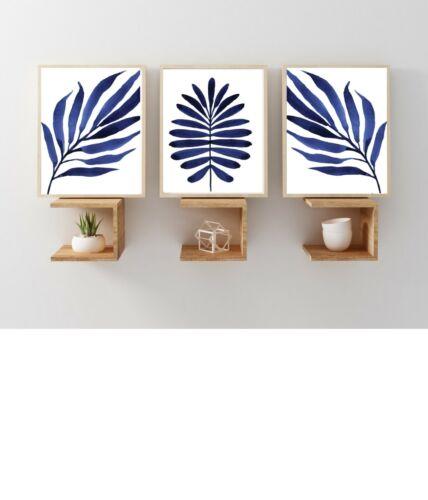 Prints blue Unframed Indigo Ferns Leaves Set of 3 Wall Art Prints Posters