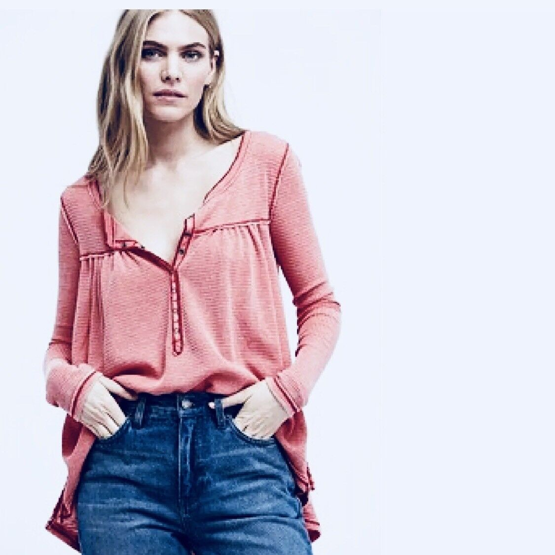 NWT FREE PEOPLE Kai Henley Thermal Top Red XSMALL XS Retail  OB718244