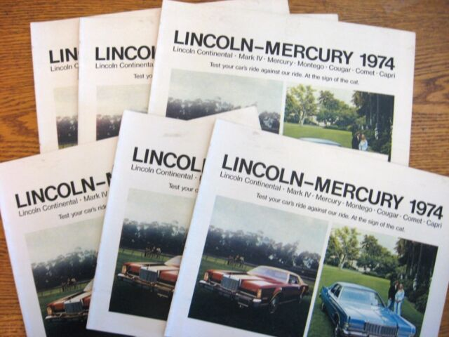 1974 Lincoln Mercury Brochure LOT, 6 pcs Cougar Capri Continental Mark IV