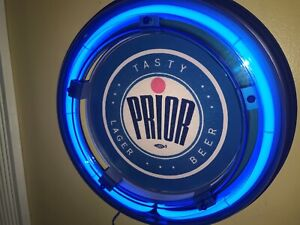 Prior Lager Beer Bar Advertising Man Cave Blue Neon