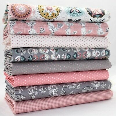 FQ Bundle - Makower Henley Sophia Pink & Grey x 8 - Fat Quarter - Cotton Fabric