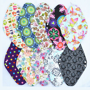 6-Overnight-PP-CHARCOAL-Bamboo-Reusable-Cloth-Mama-Menstrual-Pads-XL-14in
