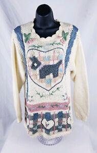 Beldoch-Popper-Women-039-s-Ivory-Dog-Floral-Crochet-Sweater-Long-Sleeve-Size-Med
