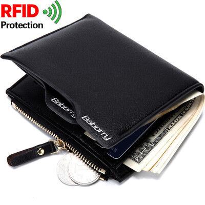 Men Black Wallet Zipper Thin Genuine Leather Credit Card Holder RFID Blocking