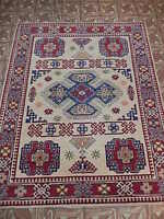 5' X 6' Kazak Antique Reproduction Elegant Laundry Room Handmade Area Rug