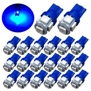 20x-Ultra-Blue-T10-LED-Bulbs-Car-Interior-License-Light-2825-192-194-5050-5-SMD