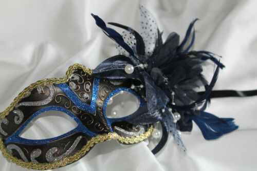 BLUE BLACK /& GOLD VENETIAN MASQUERADE CARNIVAL PARTY MASK WITH FLOWER /& FEATHERS