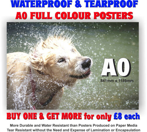A0 Waterproof & Tearproof Outdoor Colour Poster Printing for Snapframes A-Boards