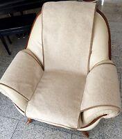Sesselschoner in Wellenoptik beige, Sesselauflage, Überwurf, 100% Wolle