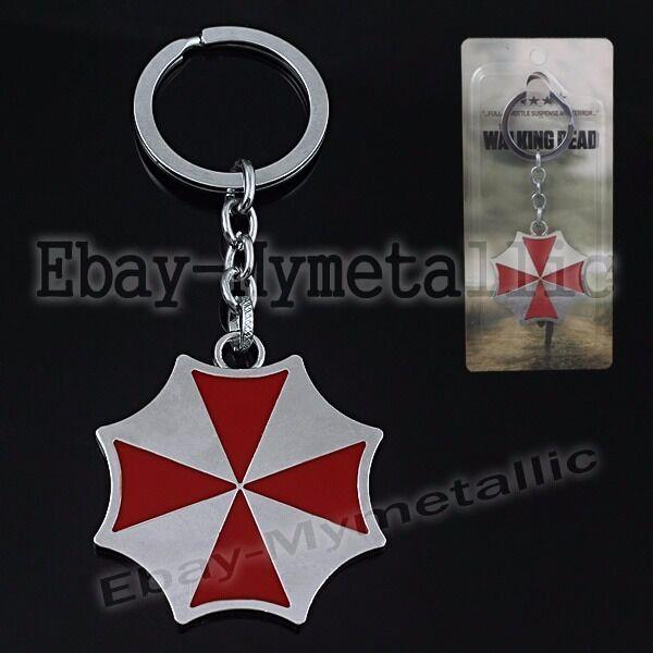 New Movie Film Resident Evil Umbrella Metal Pendant Key Ring Chain NIB