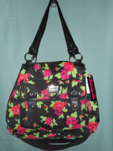 Betsey Johnson Betseyville Black Red Roses Large Satchel Crossbody Handbag Nwt