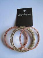 Daisy Fuentes 3 Piece Mesh Bangle Bracelets Set Gold & Copper, Free S&h, $28