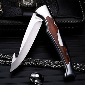 Drop Point Folding Knife Pocket Hunting Survival Wild Tactical Military Gut Hook