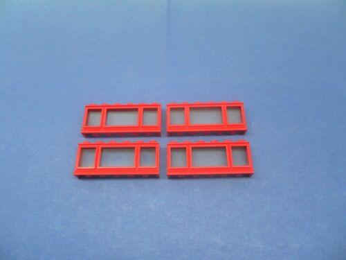 LEGO 4 x Fenster kurze Fensterbank rot 1x6x2red window short board 645cc01