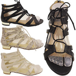 NEW-WOMENS-LADIES-LACE-UP-CUT-OUT-LOW-HEEL-GLADIATOR-SUMMER-SANDALS-SHOES-SIZE