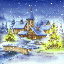 4x Paper Napkins -Christmas Village Night- for Party, Decoupage Craft