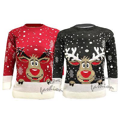 Ernst L157 Xmas Christmas Men's Womens Snowflake Reindeer Motif Knitted Jumper 8-14 äSthetisches Aussehen