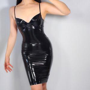 latex dress bodycon stretch faux patient leather black