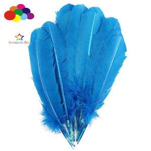 100-Pcs-Lac-Bleu-Turquie-piquants-par-Aile-Plumes-28-33-CM-11-13-in-environ-33-02-cm-A-faire-soi